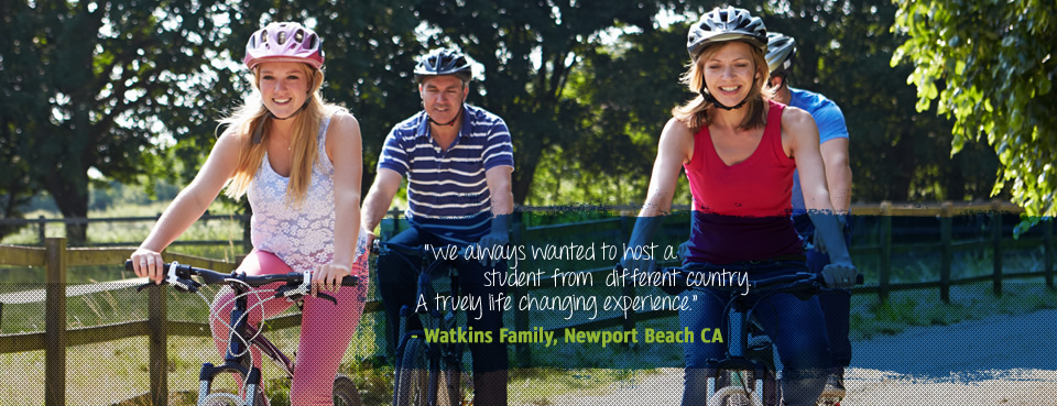 Exchange Student and Host Parents Riding Bikes in Newport Beach, California